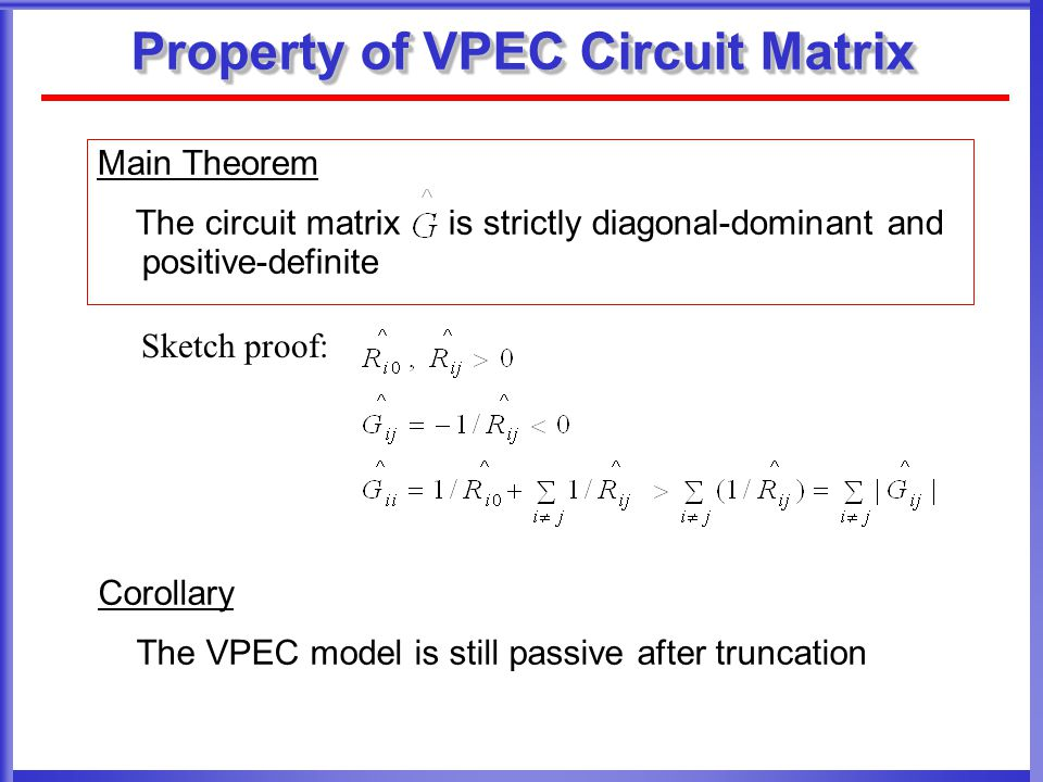 Property of VPEC Circuit Matrix