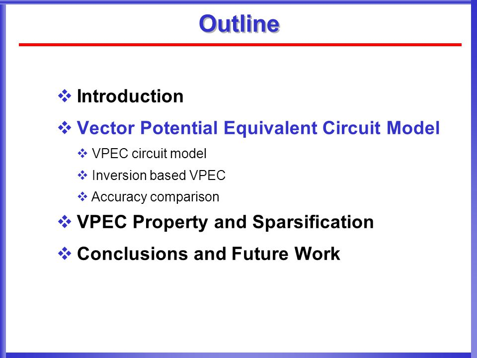 Outline Introduction Vector Potential Equivalent Circuit Model