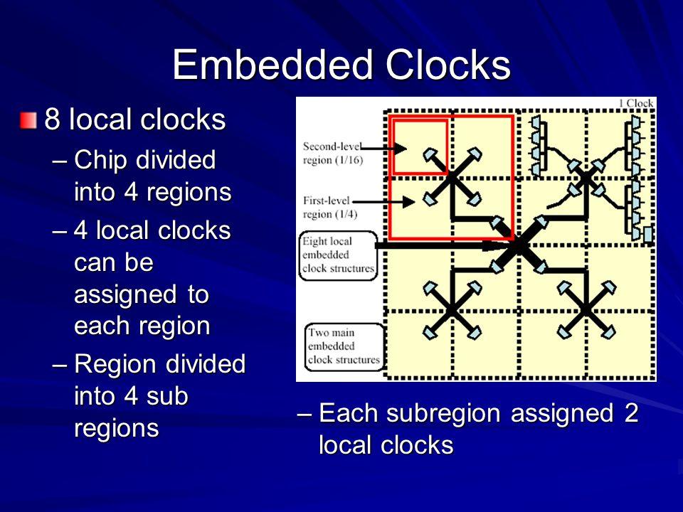 Embedded Clocks 8 local clocks Chip divided into 4 regions