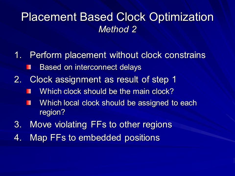 Placement Based Clock Optimization Method 2