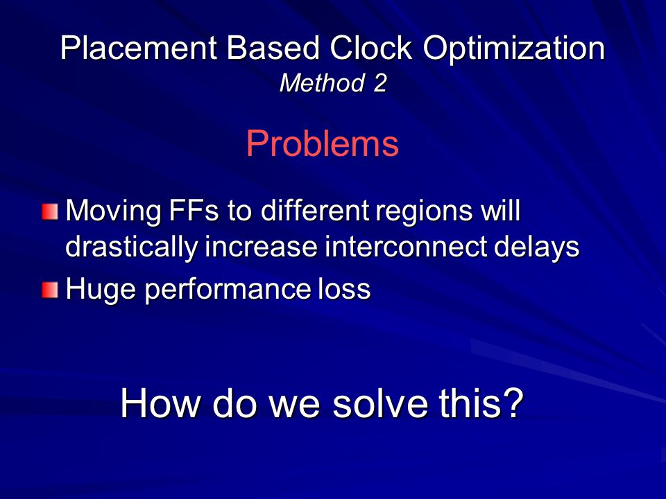 Placement Based Clock Optimization Method 2