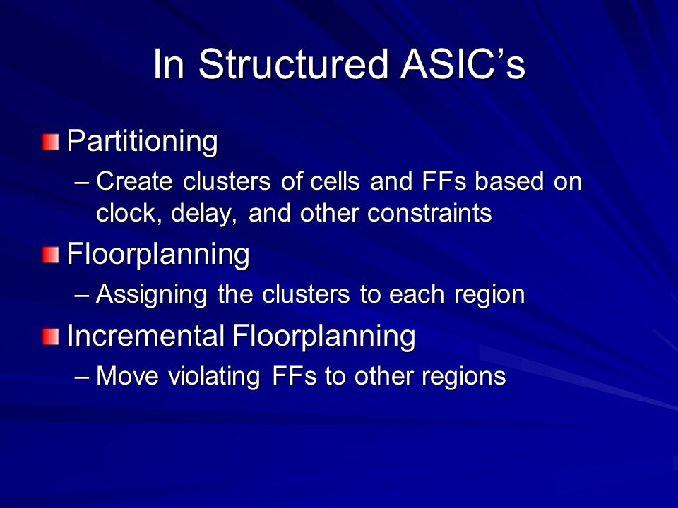 In Structured ASIC's Partitioning Floorplanning
