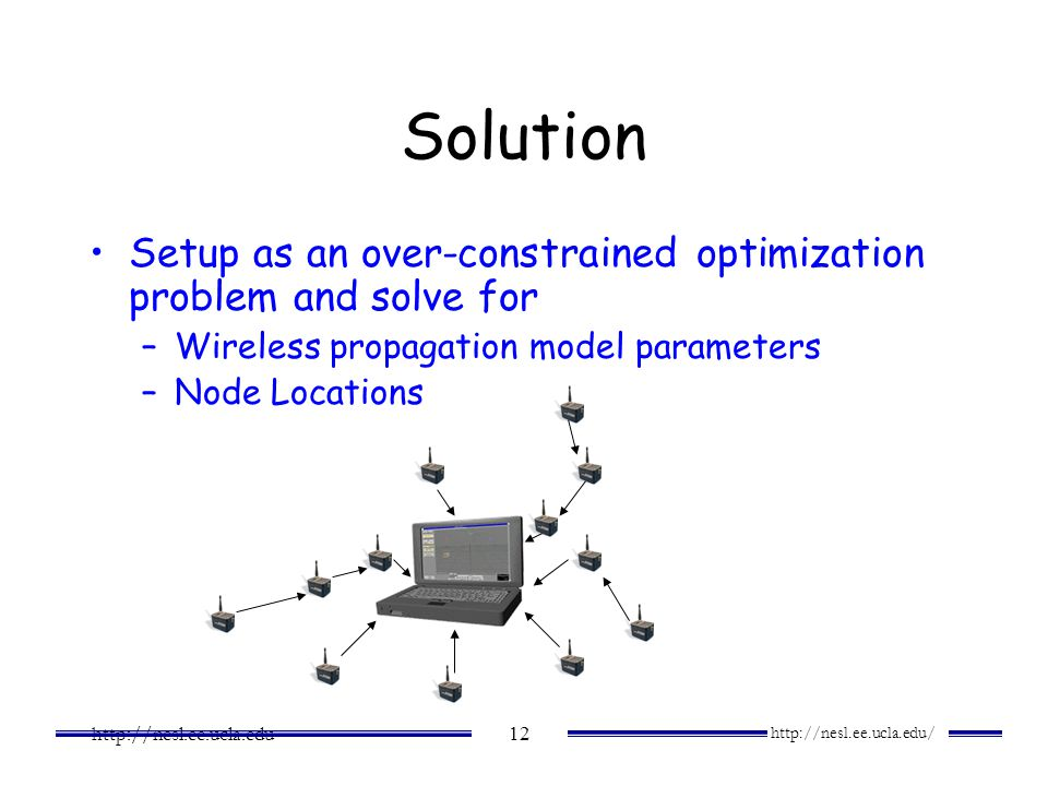 Solution Setup as an over-constrained optimization problem and solve for. Wireless propagation model parameters.