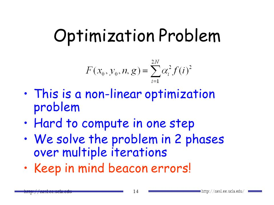Optimization Problem This is a non-linear optimization problem