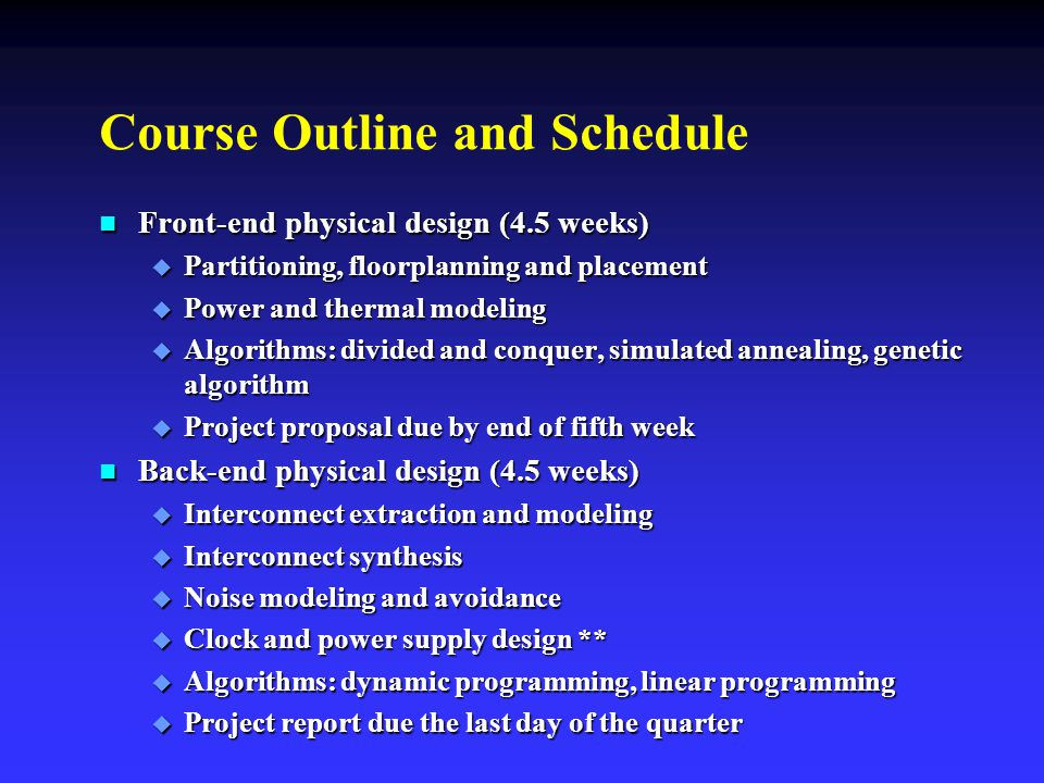 Course Outline and Schedule