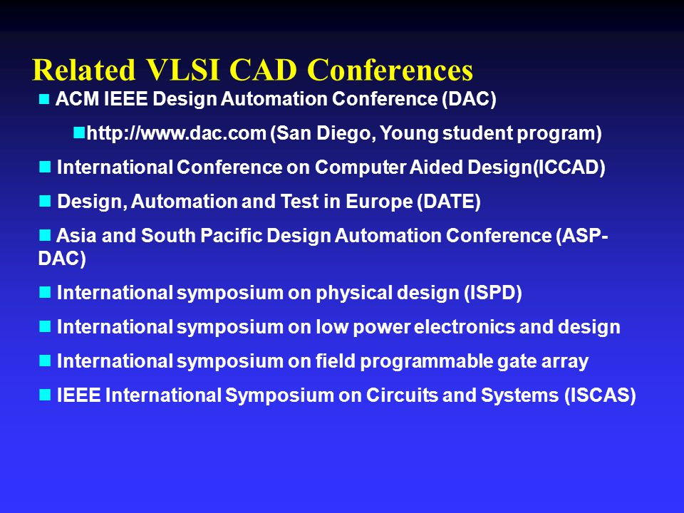 Related VLSI CAD Conferences