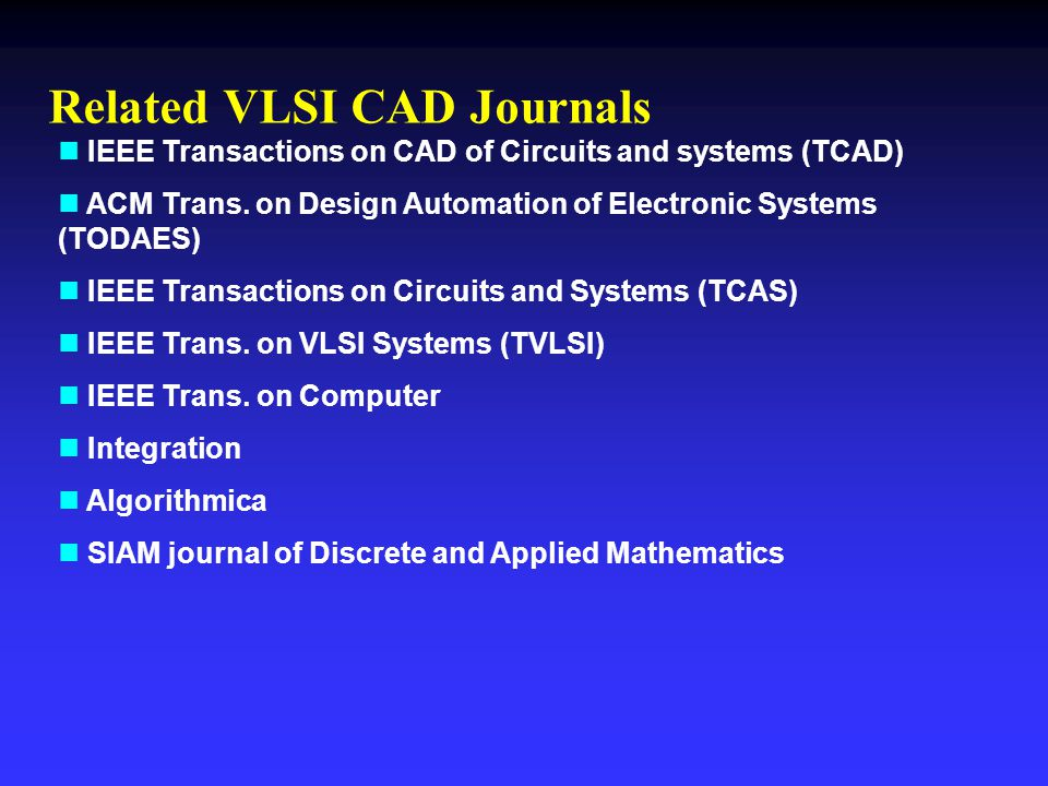 Related VLSI CAD Journals