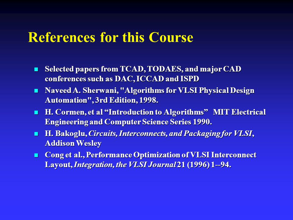 References for this Course
