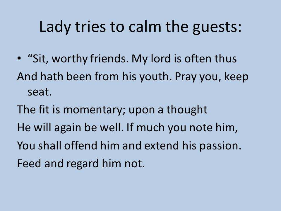 Lady tries to calm the guests: