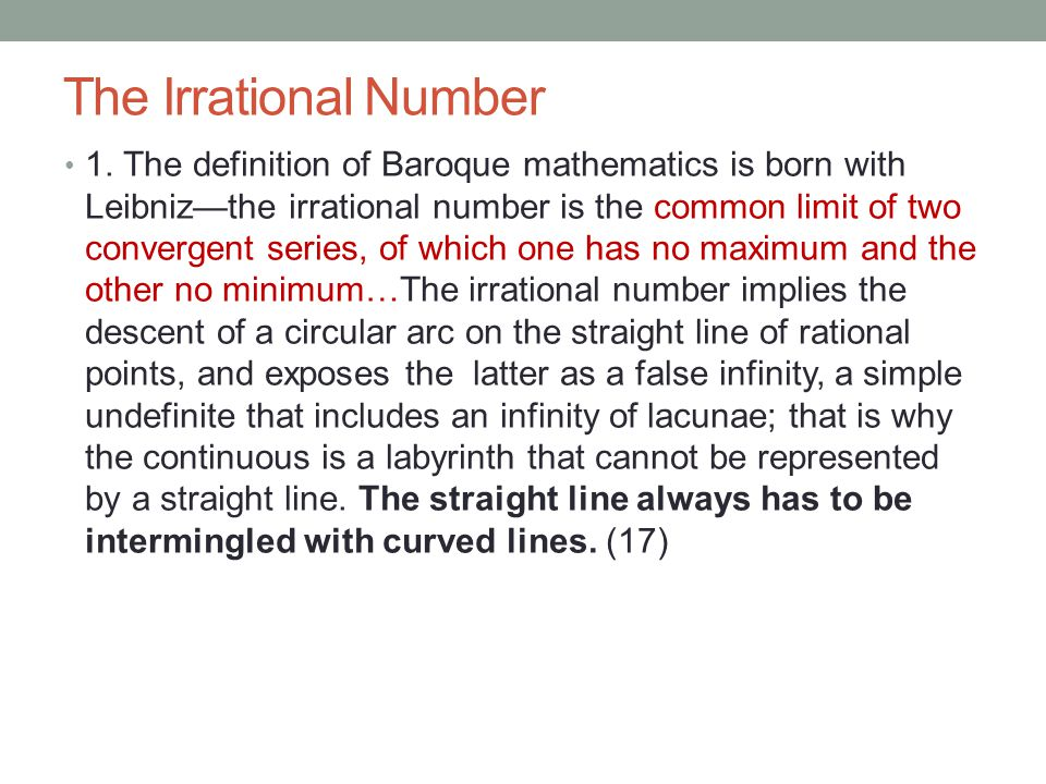 The Irrational Number