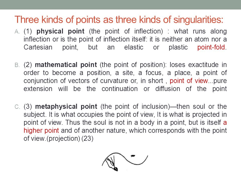 Three kinds of points as three kinds of singularities: