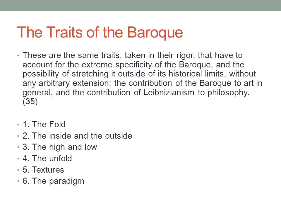 The Traits of the Baroque