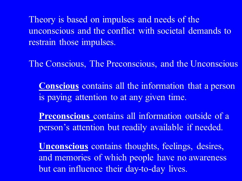 Theory is based on impulses and needs of the unconscious and the conflict with societal demands to restrain those impulses.