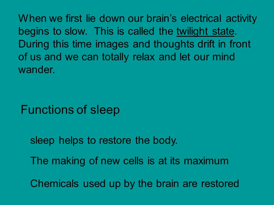 When we first lie down our brain's electrical activity begins to slow