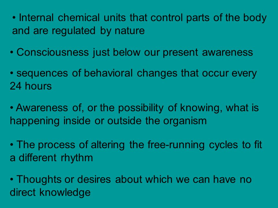 Internal chemical units that control parts of the body and are regulated by nature
