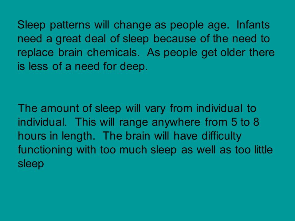Sleep patterns will change as people age