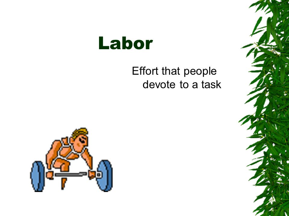 Labor Effort that people devote to a task