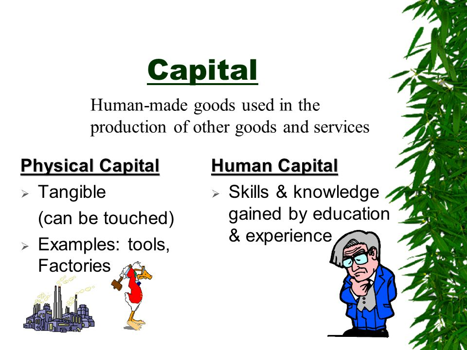 Capital Human-made goods used in the