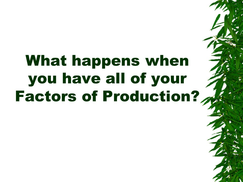 What happens when you have all of your Factors of Production