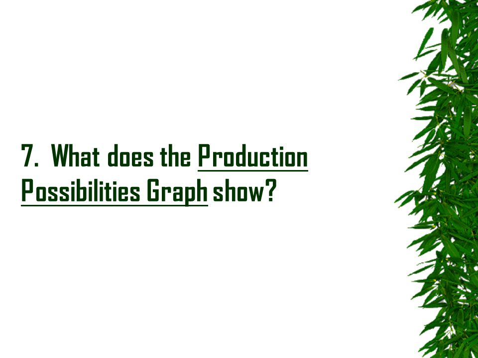 7. What does the Production Possibilities Graph show