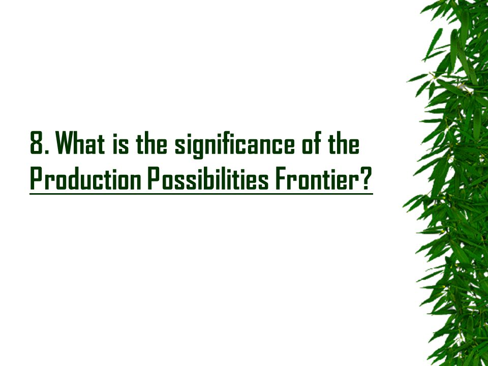 8. What is the significance of the Production Possibilities Frontier