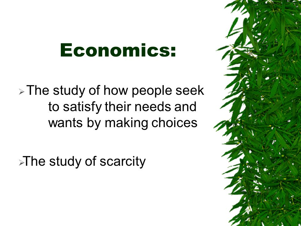 Economics: The study of how people seek to satisfy their needs and wants by making choices.