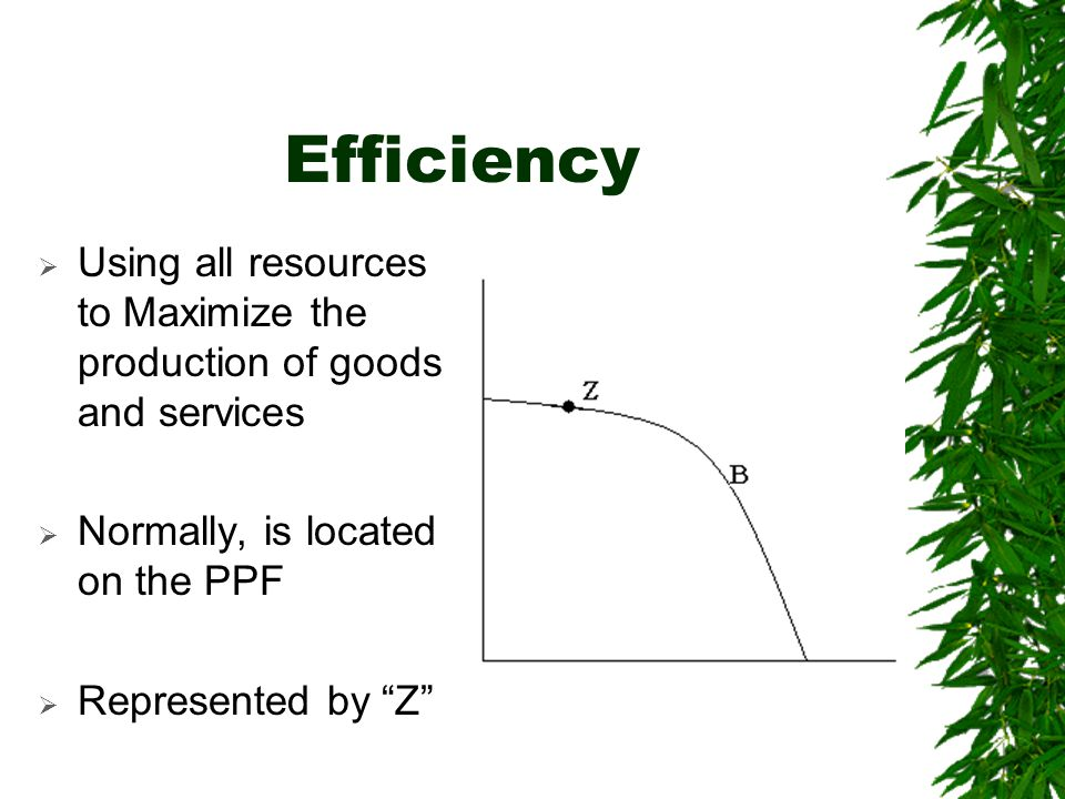 Efficiency Using all resources to Maximize the production of goods and services. Normally, is located on the PPF.