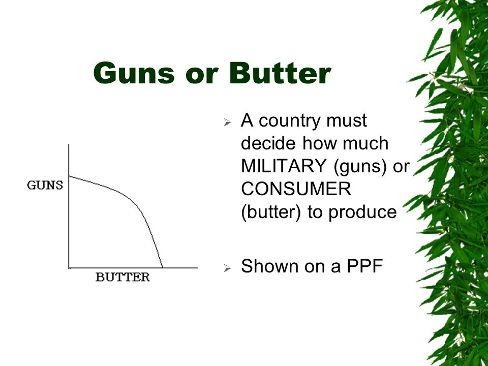 Guns or Butter A country must decide how much MILITARY (guns) or CONSUMER (butter) to produce.