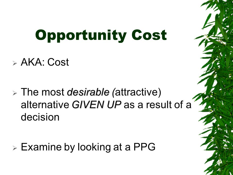 Opportunity Cost AKA: Cost