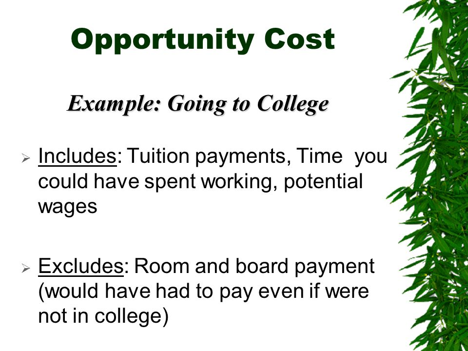 Opportunity Cost Example: Going to College