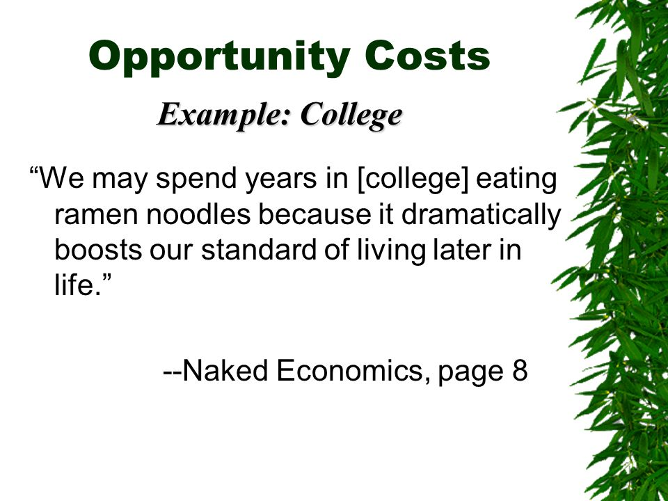 Opportunity Costs Example: College