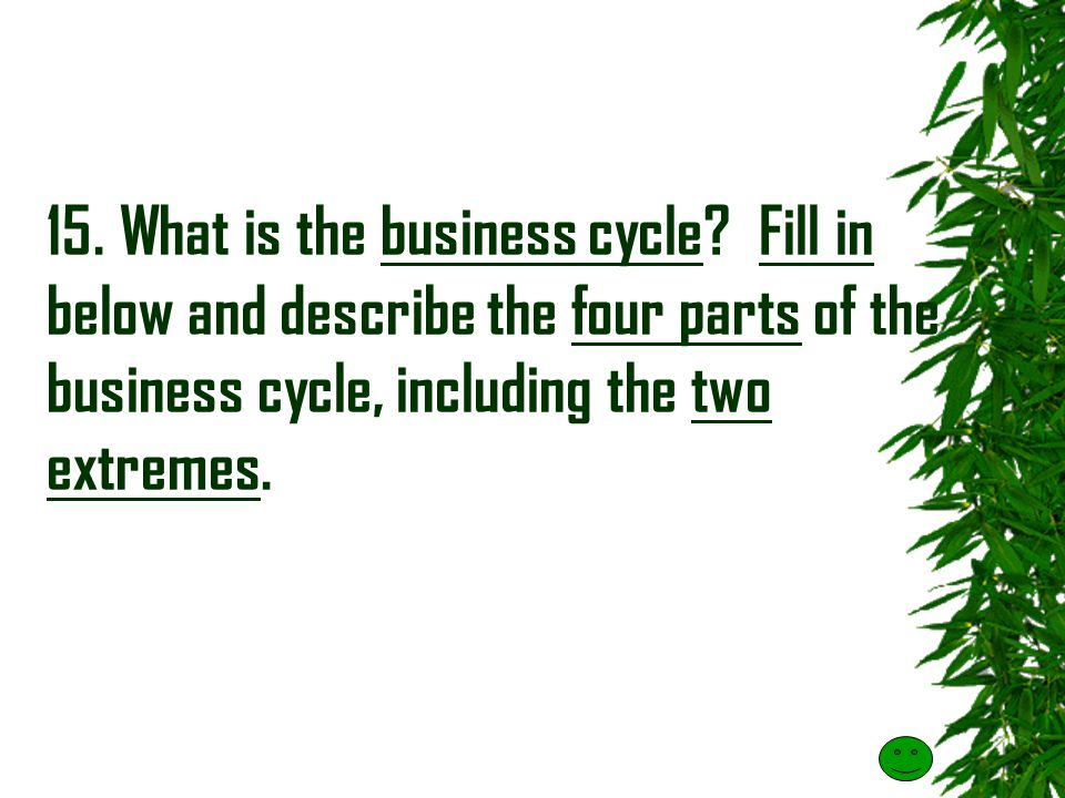 15. What is the business cycle