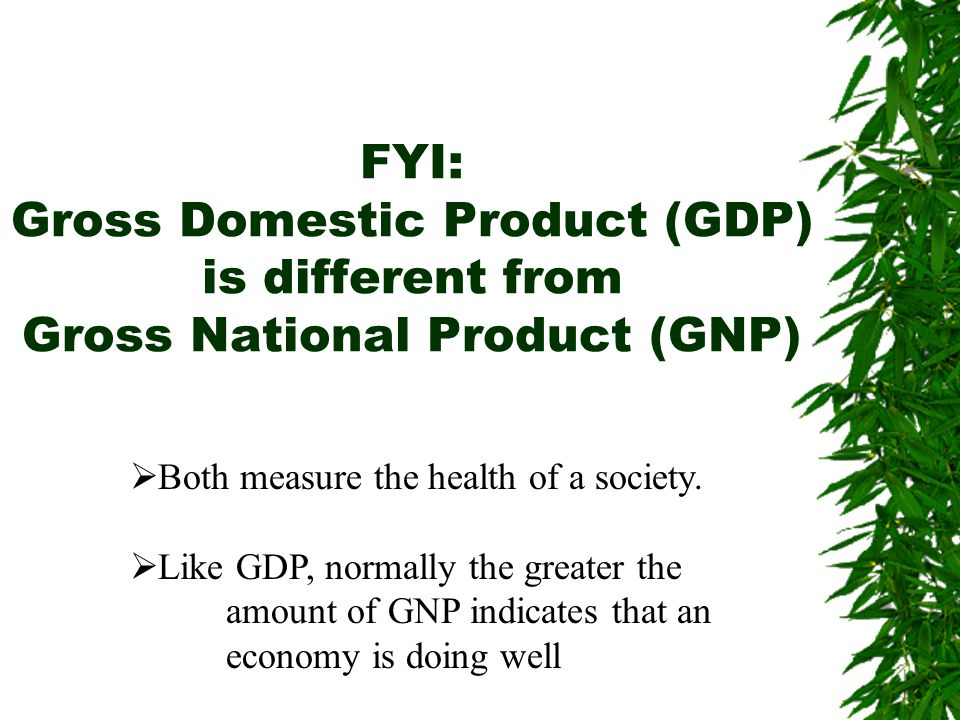 FYI: Gross Domestic Product (GDP) is different from Gross National Product (GNP)