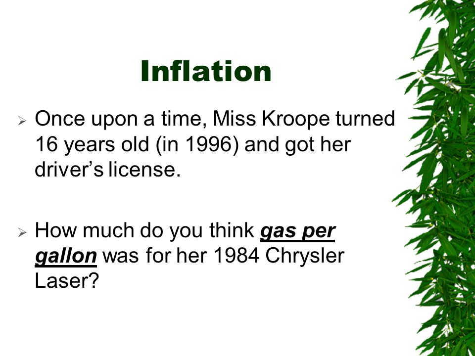Inflation Once upon a time, Miss Kroope turned 16 years old (in 1996) and got her driver's license.