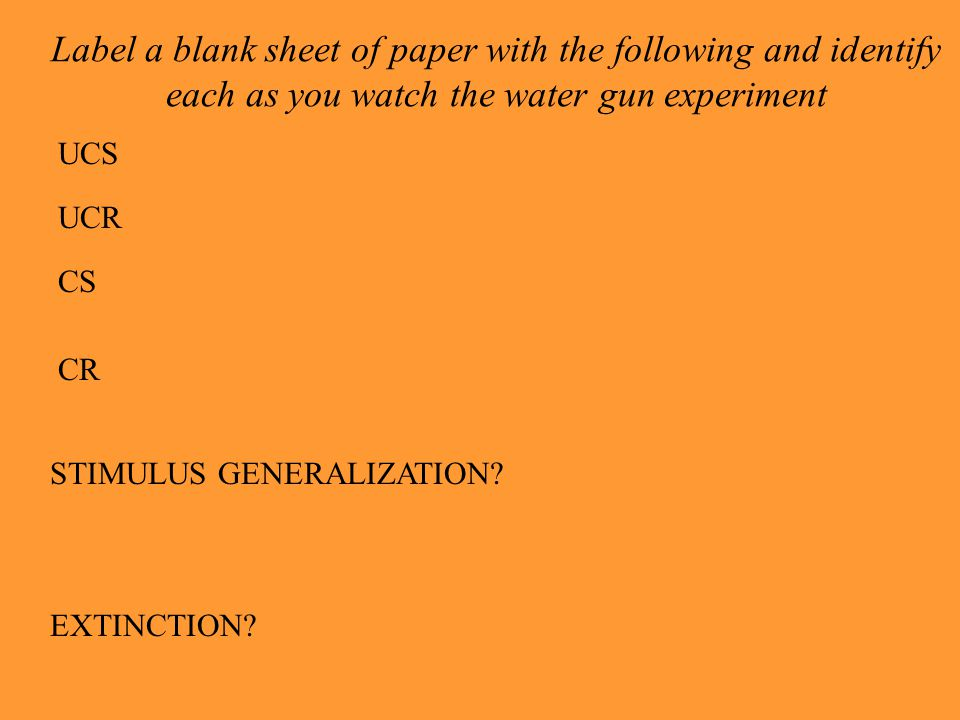 Label a blank sheet of paper with the following and identify each as you watch the water gun experiment