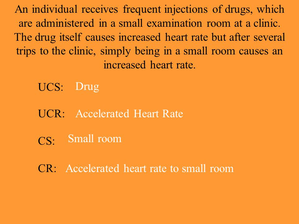 An individual receives frequent injections of drugs, which are administered in a small examination room at a clinic. The drug itself causes increased heart rate but after several trips to the clinic, simply being in a small room causes an increased heart rate.