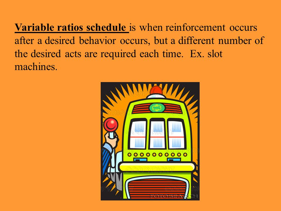 Variable ratios schedule is when reinforcement occurs after a desired behavior occurs, but a different number of the desired acts are required each time.