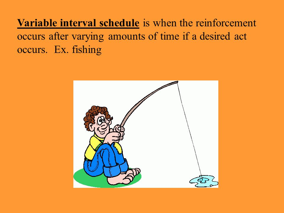 Variable interval schedule is when the reinforcement occurs after varying amounts of time if a desired act occurs.