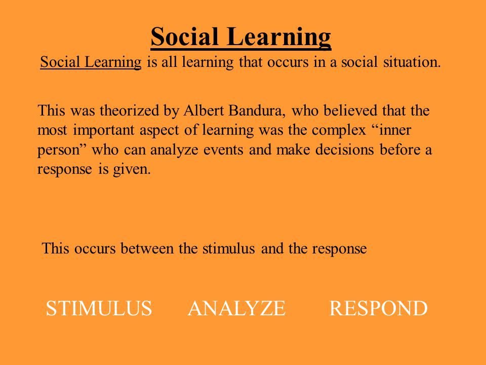 Social Learning is all learning that occurs in a social situation.