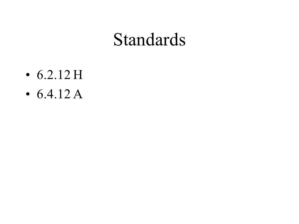 Standards 6.2.12 H 6.4.12 A