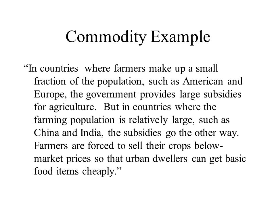 Commodity Example