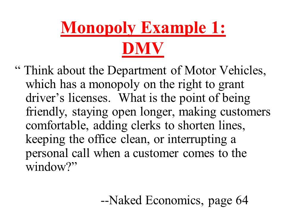 Monopoly Example 1: DMV