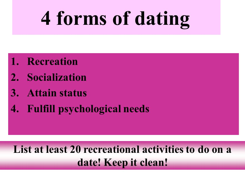4 forms of dating Recreation Socialization Attain status