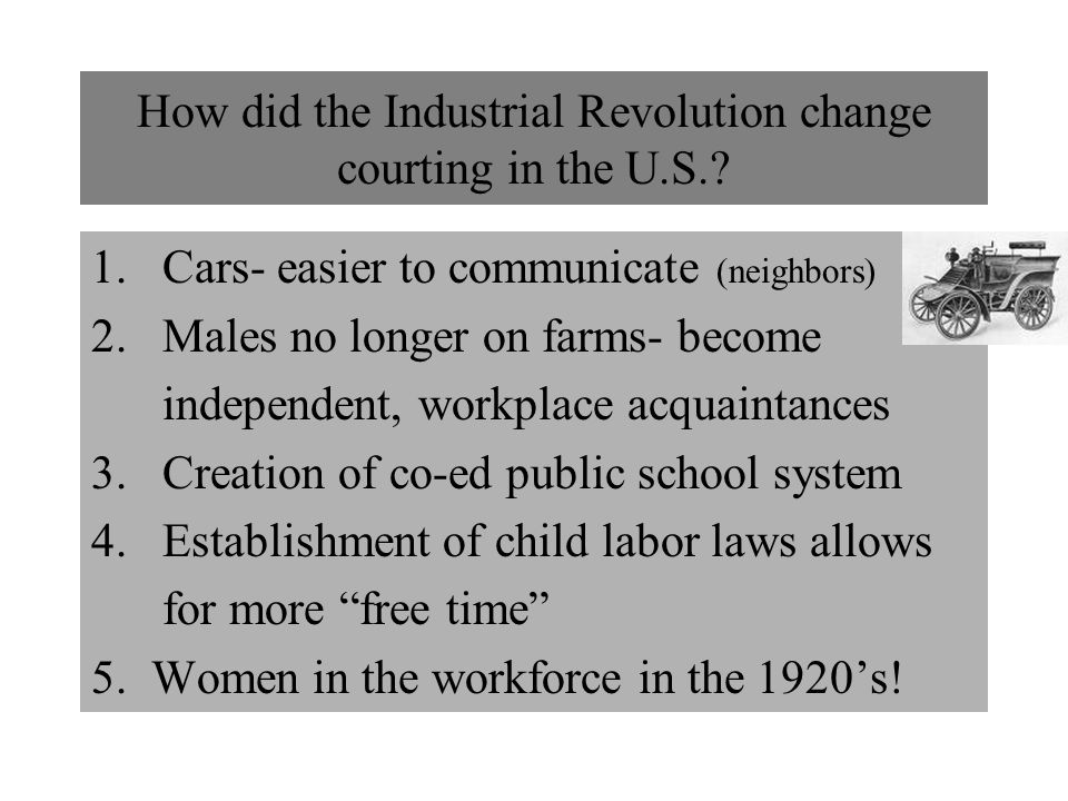 How did the Industrial Revolution change courting in the U.S.