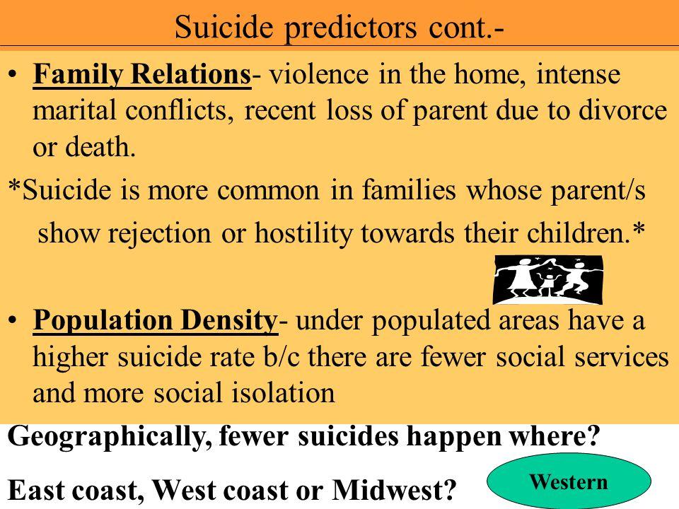 Suicide predictors cont.-
