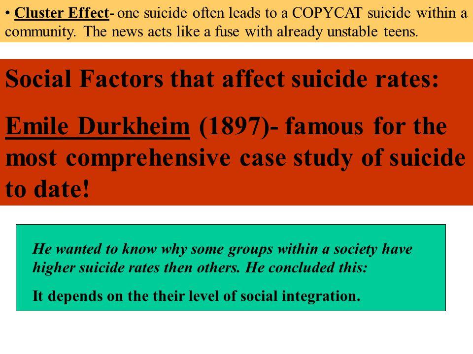 Social Factors that affect suicide rates:
