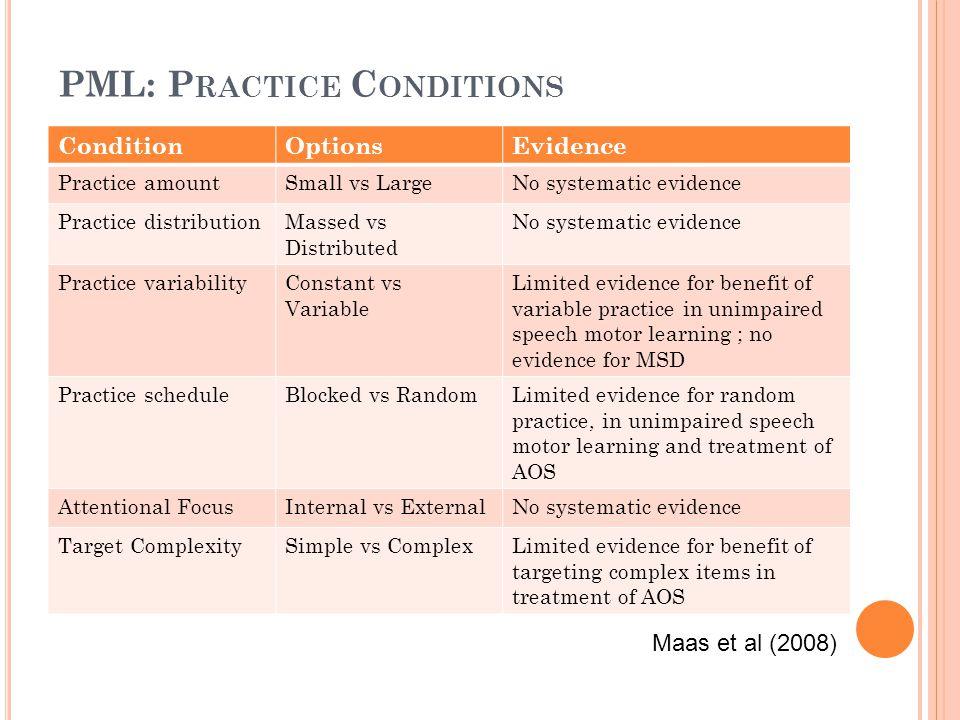 PML: Practice Conditions