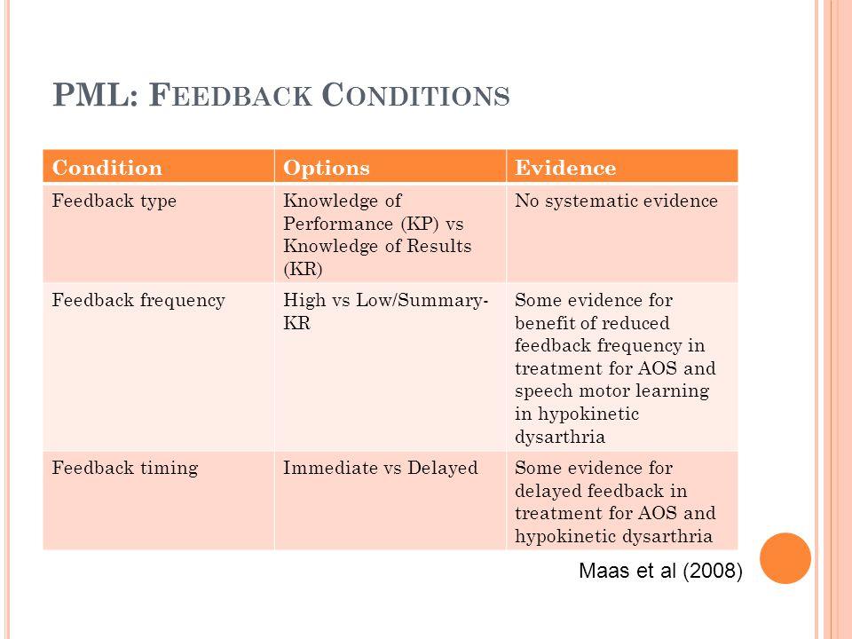 PML: Feedback Conditions