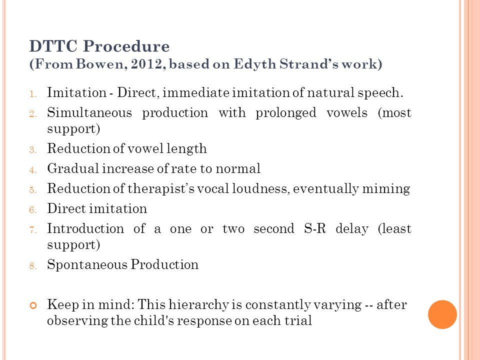 DTTC Procedure (From Bowen, 2012, based on Edyth Strand's work)