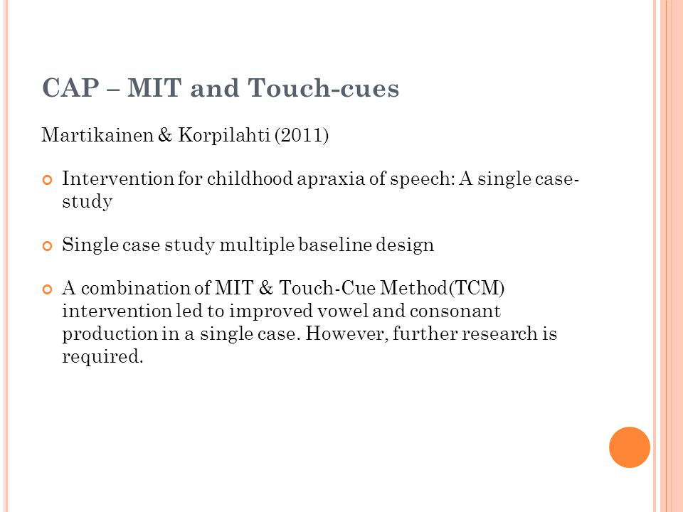 CAP – MIT and Touch-cues